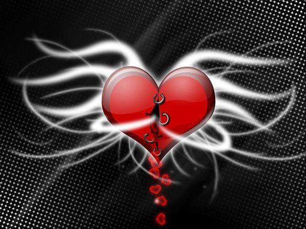 Coeur rouge avec des ailes - Dessin de coeur avec des ailes ...